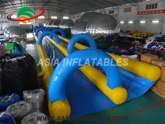 Inflatable double lane city slide